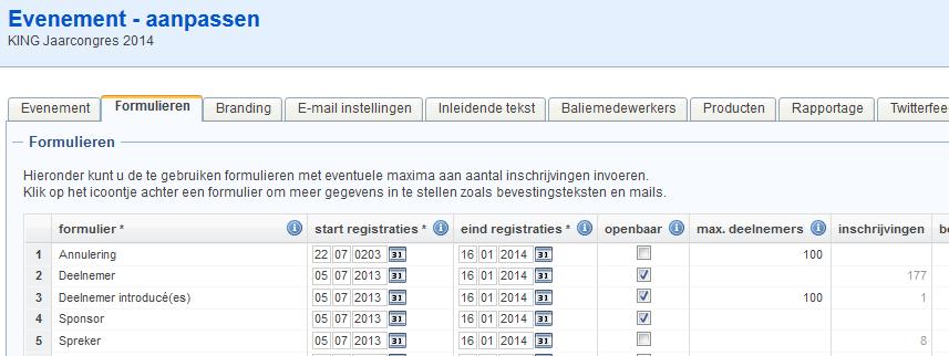 Overzicht van formulieren vanaf de detailpagina van een evenement.