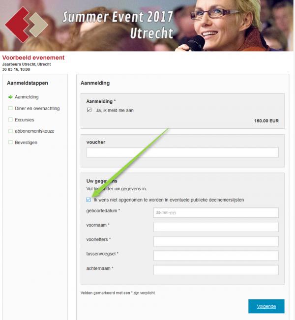 Voorbeeld van aanvinken deelnemerslijst op het aanmeldformulier