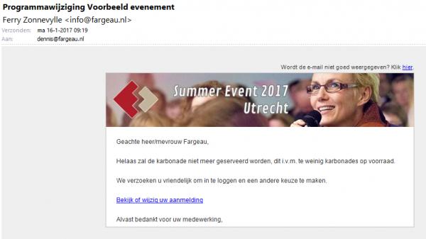 Voorbeeld van e-mail over de programmawijziging