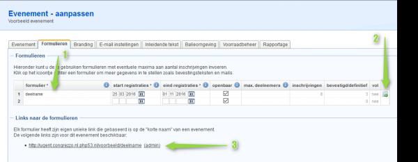 Scherm waarin een formulier opgezet kan worden