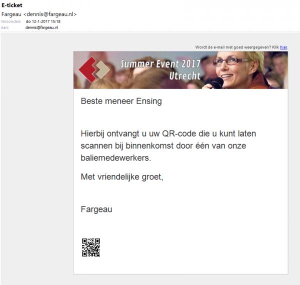 Voorbeeld van een mailing met een toegevoegde QR-code