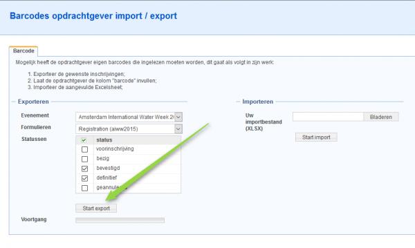 Barcode van een opdrachtgever importeren