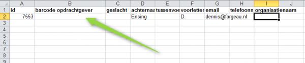 Excel bestand waar barcode van de opdrachtgever ingevuld moet worden