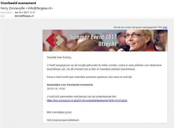 Automatische mail die verstuurd wordt wanneer er plekken vrij zijn