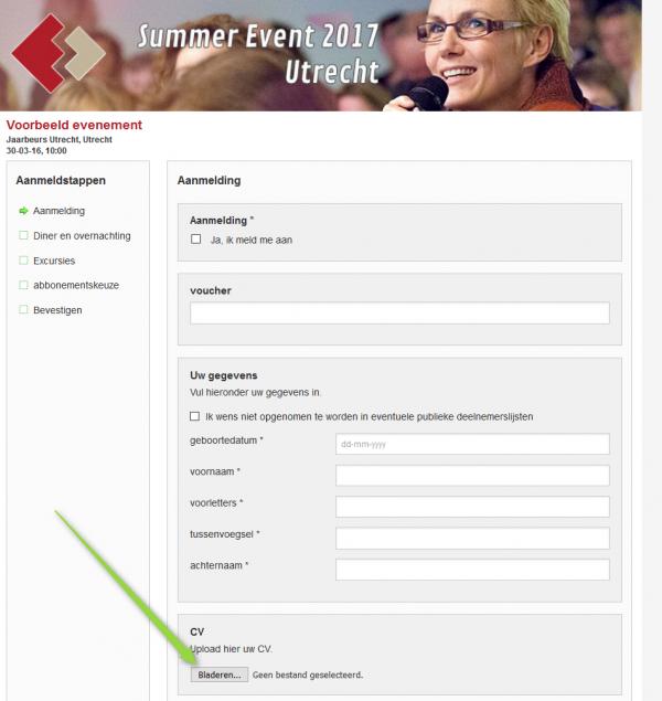 Voorbeeld van bestandsupload in aanmeldformulier