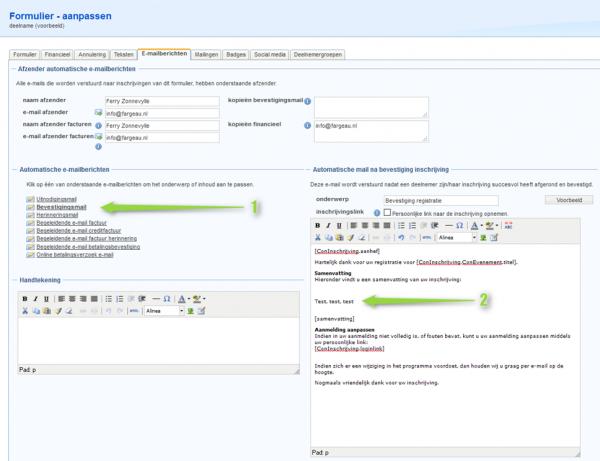 Standaard e-mailberichten instellen