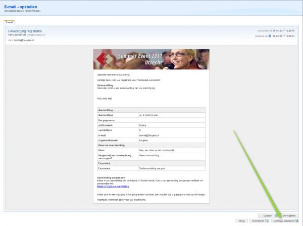 Overzicht van te versturen e-mail